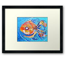 Expressive abstract FISH ART / design from J. Vincent Scarpace !! AWESOME, Must see !! Framed Print