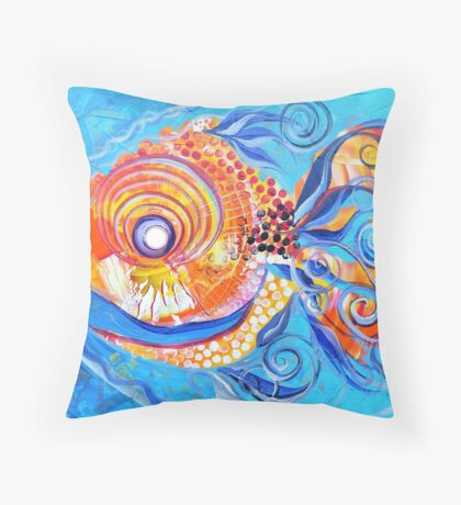Expressive abstract FISH ART / design from J. Vincent Scarpace !! AWESOME, Must see !! Throw Pillow
