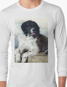 Newfoundland Dog Painting Long Sleeve T-Shirt
