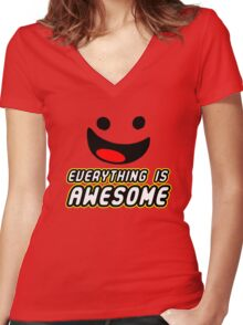 Everything Is Awesome Women's Fitted V-Neck T-Shirt