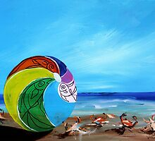 Sunny Beach Scene, with flirty crabs !! Bright, cheerful, artsy painting from J. Vincent by 17easels