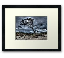 Foreboding - approaching storm: HDR at Rheban Beach, Orford, Tasmania, Australia Framed Print