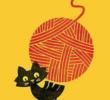 Happiness - cat and yarn by Budi Kwan