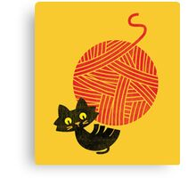 Happiness - cat and yarn Canvas Print