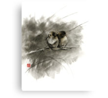 A pair of sparrows two birds brown bird original ink painting artwork Canvas Print