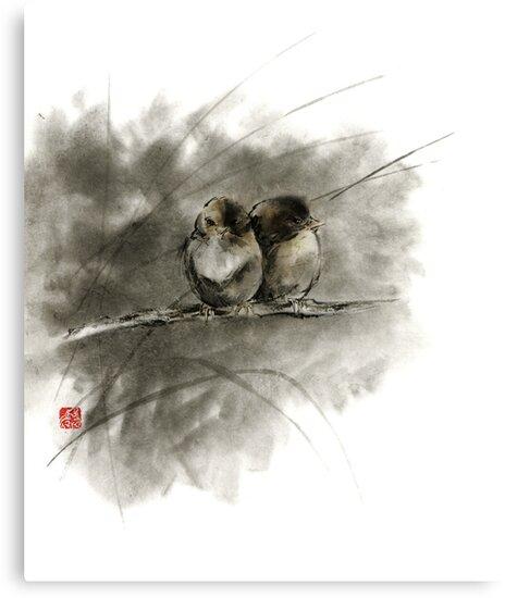 A pair of sparrows two birds brown bird original ink painting artwork by Mariusz Szmerdt