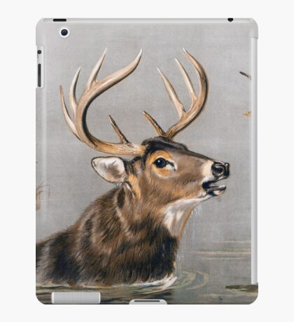 Stag wading through Water painting iPad Case/Skin