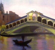 Rialto bridge at dusk, Venice  by Tash  Luedi Art
