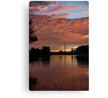 Reflecting on Fiery Skies - Toronto Skyline at Sunset Canvas Print