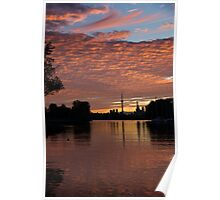 Reflecting on Fiery Skies - Toronto Skyline at Sunset Poster