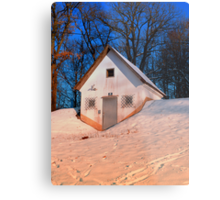 Small cottage in winter wonderland | architectural photography Metal Print