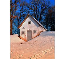 Small cottage in winter wonderland | architectural photography Photographic Print