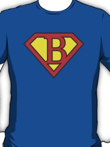 B letter in Superman style T-Shirt