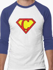 C letter in Superman style Men's Baseball ¾ T-Shirt