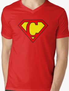 C letter in Superman style Mens V-Neck T-Shirt