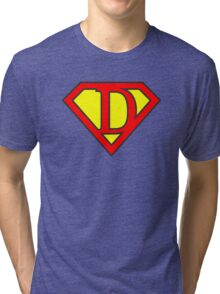 D letter in Superman style Tri-blend T-Shirt