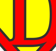 D letter in Superman style Sticker