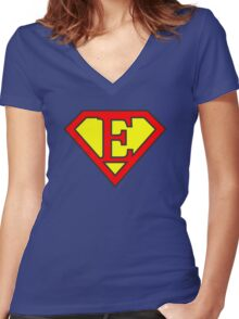 E letter in Superman style Women's Fitted V-Neck T-Shirt