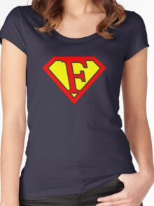 F letter in Superman style Women's Fitted Scoop T-Shirt
