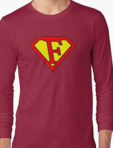 F letter in Superman style Long Sleeve T-Shirt