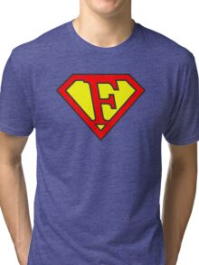F letter in Superman style Tri-blend T-Shirt