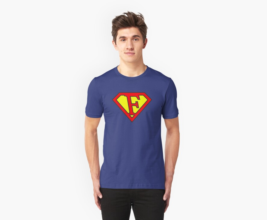F letter in Superman style by Stock Image Folio