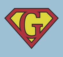 G letter in Superman style Kids Clothes