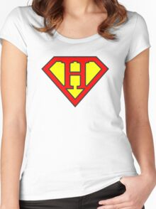 H letter in Superman style Women's Fitted Scoop T-Shirt