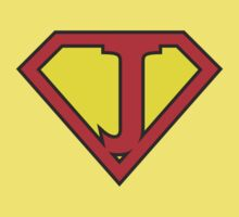 J letter in Superman style Baby Tee