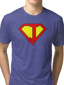 J letter in Superman style Tri-blend T-Shirt