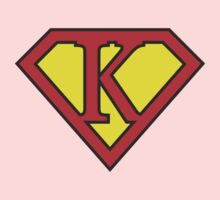 K letter in Superman style Baby Tee