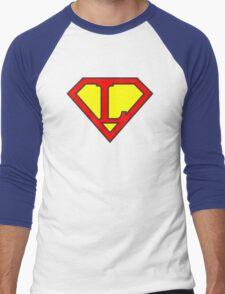 L letter in Superman style Men's Baseball ¾ T-Shirt