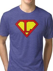 L letter in Superman style Tri-blend T-Shirt