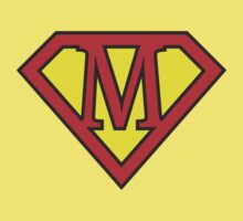 M letter in Superman style Kids Tee