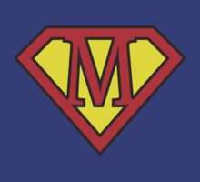 M letter in Superman style T-Shirt