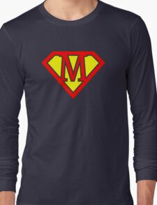 M letter in Superman style Long Sleeve T-Shirt
