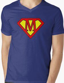 M letter in Superman style Mens V-Neck T-Shirt