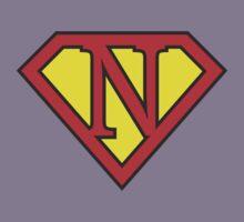 N letter in Superman style Kids Tee