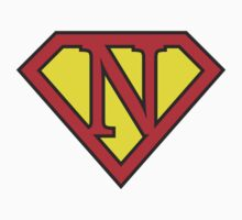 N letter in Superman style Kids Clothes