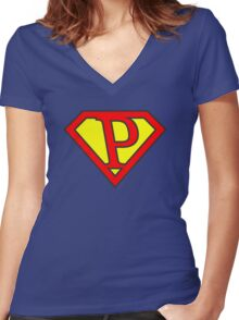 P letter in Superman style Women's Fitted V-Neck T-Shirt