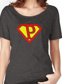 P letter in Superman style Women's Relaxed Fit T-Shirt