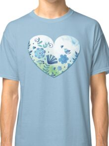 Blue heart with flowers and bird Classic T-Shirt