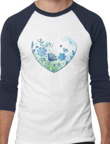 Blue heart with flowers and bird Men's Baseball ¾ T-Shirt