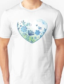 Blue heart with flowers and bird Unisex T-Shirt