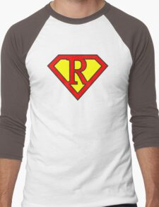 R letter in Superman style Men's Baseball ¾ T-Shirt