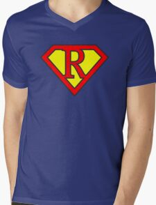 R letter in Superman style Mens V-Neck T-Shirt