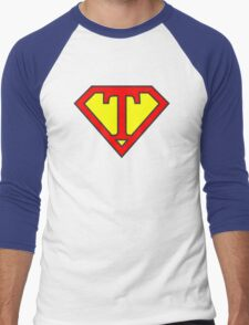 T letter in Superman style Men's Baseball ¾ T-Shirt