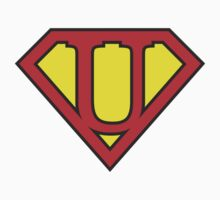 U letter in Superman style Baby Tee