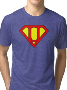 U letter in Superman style Tri-blend T-Shirt