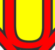 U letter in Superman style Sticker